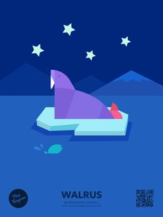 Endangered animals Education puzzle_Walrus #PlayTangram #Colorful #Modern #Minimal #Puzzle #Learning #Flat #ios #iphone #Nature #Children
