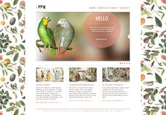 Website: Botanical background pattern.