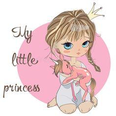 Girl princess with unicorn stock vector. Illustration of lullaby - 63828951 Baby Animal Drawings, Pencil Art Drawings, Cute Girl Illustration, Chibi Couple, Unicorn Fantasy, Cute Clipart, Little Princess, Princess Girl, Disney Drawings