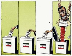 This cartoon by Morten Morland in The Times relates to Iran's disputed presidential election. Opponents of Mahmoud Ahmadinejad, who was re-elected with over 60% of the vote, accused the hard-line president of ...........