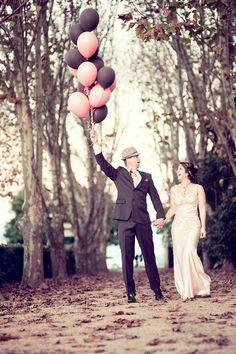 Pink and black wedding balloons. Visit www.rosetintmywedding.co.uk for bespoke wedding planning and design.