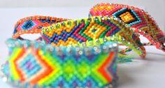 Neon Rhinestone Friendship bracelets  Yes!!!   hippie style chrystel rhinestone by lidart on Etsy