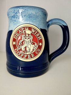 Uncle Sam Death Wish Coffe Mug - Every Single Deneen Pottery Mug Death Wish Coffee Has Ever Made – Death Wish Coffee Company Best Coffee Mugs, Unique Coffee Mugs, Coffee Coffee, Deathwish Coffee, Coffee Machines For Sale, Coffee Concentrate, Coffee Staining, Coffee Company, Pottery Mugs