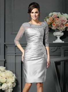 Sheath/Column V-neck Knee-Length Appliques Lace Satin Tulle Zipper Up Sleeves 1/2 Sleeves No Silver Spring Summer Fall Mother of the Bride Dress