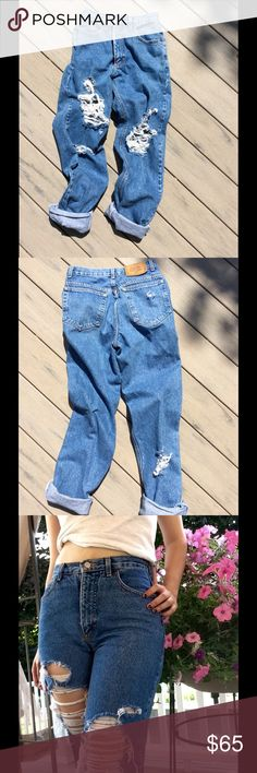 """Calvin Klein Vintage Jeans Beautiful vintage deconstructed CK jeans ('90's) that will only get better with age. W -26"""" H-39"""" Length-43.5"""" Front Rise - 11"""" Back Rise -15"""". Non stretch, medium weight. Calvin Klein Jeans Boyfriend"""
