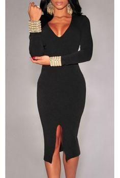$19.99  Long-sleeve Midi Dress Black Midi Dress Bodycon, Long Sleeve Midi Dress, Dress Black, Sleeve Dresses, Dress Long, Sexy Dresses, Nice Dresses, Fashion Dresses, Ladies Dresses