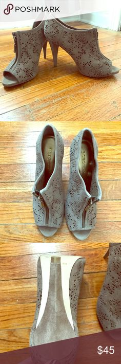 BCBGirls grey suede laser cut peep toe booties Worn once. Only sign of wear is the light soil on sole. Smoke and pet free home. Perfectly on trend and lovely for spring. BCBGirls Shoes Ankle Boots & Booties