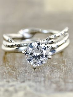 Twisted Branch Diamond Ring
