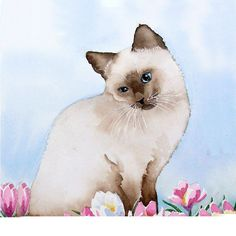 Cat Art, Siamese Cat Art, Siamese Cat Watercolor Print - Home Decor - Women Kids Cat Lover , Pet Siamese Cat Painting Artwork 7.6 x 9.6