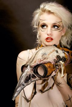 Steampunk Bird Skull Plague Mask by LaneyChantal on Etsy, $300.00 Her expression says it all.