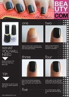 Black on black french manicure! #frenchmani #blackmani  See more tutorials at bellashoot.com!!
