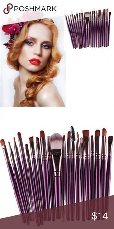 20pc Purple Brushes Set 100% brand new and high quality  Quantity: 20pcs/set  Item type:Make up brush  Material:Goat hair  Handle material:Wood  Brush material:Synthetic Hair Easy to stick powder, natural color, rendering uniform   Item included: Foundation Powder Brush,Lip Brush,Mascara Brush,Eyeshadow Brush,Two Side Brush,Eyebrow Mascara Brush,Sponge Brush,Smudge Brush,Nose Shadow Brush,Eyeliner Brush   Package include:20pcs Make up brushes kits(No retail box,Packed safely in bubble bag)…