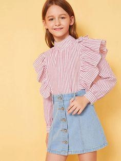 Young Girl Fashion, Preteen Girls Fashion, Girls Fashion Clothes, Kids Fashion, Girls Casual Dresses, Cute Girl Outfits, Cute Outfits For Kids, Cute Dresses, Leather Look Dress