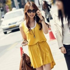 Elegant Scoop Neck Sleeveless Elastic Waist and Irregular Hem Design Sundress For Women (YELLOW,FREE SIZE) China Wholesale - Sammydress.com