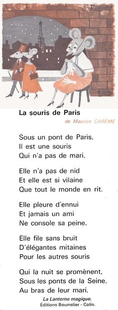Maurice Carême, La Souris de Paris (poésie) sniff sniff