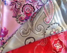 Check out Paisley satin scarf,  Coworker gift  Floral scarf, Poppy Red scarf, Gift for Coworker, Spring shawl, Bulk buying gift, Gift cancer patient on blingscarves