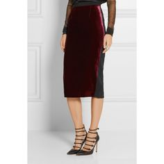 Roland Mouret Arreton velvet and stretch-cady pencil skirt (2,445 PEN) via Polyvore featuring skirts, stretch pencil skirt, stretch velvet skirt, wet look skirt, shiny skirt y velvet skirt