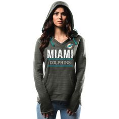 Women's Miami Dolphins Majestic Charcoal Swift Play Pullover Hoodie