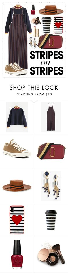 """""""Untitled #149"""" by audinai ❤ liked on Polyvore featuring Monki, Converse, Marc Jacobs, Sensi Studio, Talbots, Kate Spade, Nude by Nature, Stila, stripesonstripes and PatternChallenge"""