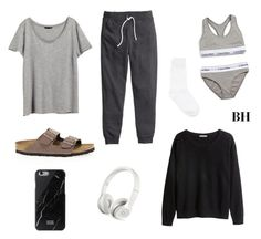 """""""What to change into on a long flight..."""" by brionyhblevin on Polyvore featuring H&M, Y's by Yohji Yamamoto, Beats by Dr. Dre, Birkenstock, Calvin Klein Underwear, women's clothing, women, female, woman and misses"""
