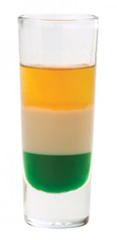 Irish Flag Shooter  1/3 oz Bailey's Irish Cream  1/3 oz green crème de menthe 1/3 oz Grand Marnier (or Butterscotch Schnapps)
