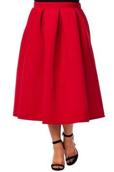 Plus Size Midi Skater Skirt Scuba