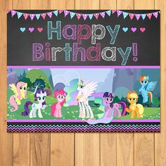 My Little Pony Birthday Sign Chalkboard by SometimesPie My Little Pony Birthday Party, 5th Birthday Party Ideas, Fourth Birthday, Unicorn Birthday Parties, Party Themes, Happy Birthday, Cumple My Little Pony, Chalkboard, Sign