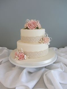Lace Wedding Cakes (I would add some bling for sure to this) Classic Formal Vintage Ivory Pink Buttercream Flowers Fondant Ribbon Round Topper Wedding Cake Wedding Cakes Photos Round Wedding Cakes, Wedding Cake Photos, Wedding Cakes With Flowers, Beautiful Wedding Cakes, Wedding Cake Designs, Beautiful Cakes, 2 Tier Wedding Cakes, Flower Cakes, Round Cakes