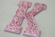 Hot Pink Glitter Letter for wall. this is a sign.. K for kristina <3 this will be somewhere in my apartment ! (:
