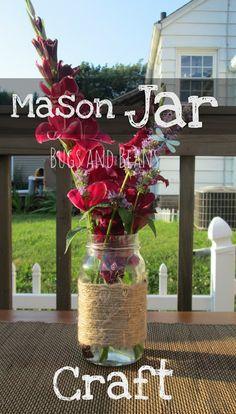 Easy Twine Mason Jar Craft  #craft #DIY