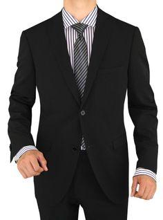 Cool Fashion Guys Looking Awesome  Nicoletti Mens 2 Button Slim Fit Suit Working Button Holes Black Stripe Black #MensSuit #MensSuitHabit
