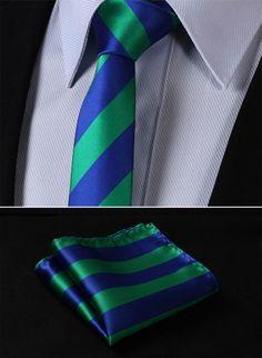 "TS432G5 Green Blue Skinny Stripes 2.17"" 100%Silk Woven Slim Skinny Narrow Men Tie Necktie Handkerchief Pocket Square Suit Set"