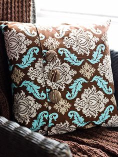 Pillow Covers  Give a standard pillow form a fresh look by sewing an easy slipcover. Allowing enough fabric for an overlap, sew two sides of the fabric together, folding under the raw edges at the overlap. Slip the cover over the pillow, then close the opening with three covered buttons fitted with coordinating fabric.