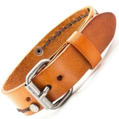 R&B Joyas - Pulsera de fuerza hombre ajustable, cierre vintage estilo western, pulsera de cuero, color marrón camel: Amazon.es: Joyería