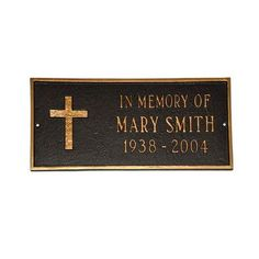 Montague Metal Products Rugged Cross Memorial Plaque Finish: Brick Red / Gold, Mounting: Lawn