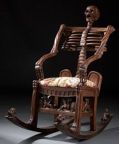 Skeletal Rocking Chair. This isn't your grandmother's rocking chair. Unless you have a totally awsome grandma. This chair, which was recently offered at auction, was probably carved in Russia in the Nineteenth Century.