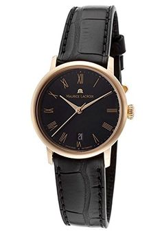 Maurice Lacroix Les Classiques LC6013-PG101-310 28mm Automatic 18K Gold Case Black Leather Sapphire Crystal Women's Watch *** For more information, visit image link.