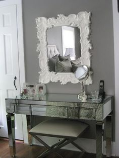 I really like this color- Benjamin Moore - Galveston Gray - Horchow Baroque Style Mirror, Ethan Allen Xanadu Bench, Glam Furniture Mirrored Vanity, gray wa. Mirrored Furniture, Mirrored Vanity, Mirrored Table, Interior Desing, Benjamin Moore Paint, Transitional Bedroom, Home Office Furniture, Rooms Furniture, Furniture Companies
