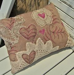 Upcycled lace embroidered pillow