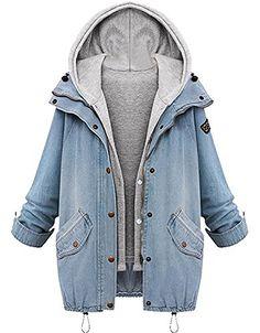 Womens Winter Warm Zip Up Denim Jacket Hooded Coat Outwear Jeans Tops Blue US 24