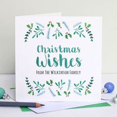 Personalised 'Christmas Wishes' Card