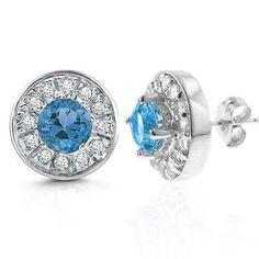2.00 Carat tw Blue Topaz & White Sapphire Earrings in Sterling Silver