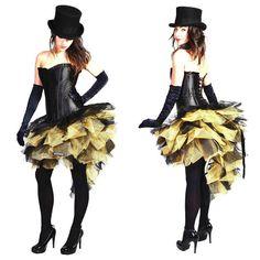 Gold Black Burlesque costume Skirt Moulin Rouge Mardi Gras Dress Up Carnival tut Corset Costumes, Burlesque Costumes, Dress Up Costumes, Dance Costumes, Costume Ideas, Mardi Gras Outfits, Mardi Gras Costumes, Carnival Costumes, Steampunk Costume