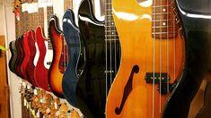 lining up  #jbass #pbass #fender #fenderguitars #guitarshop #barcelona #love #insta #instagram #instalove #tokyo #japan #bass #electricbass #thinline #wood #deco #colors #gibson #ibanez #precision #jazzbass