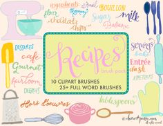"""Recipes"" Clipart Brush Pack: for Embellishing Recipe Cards, Food Blogging, etc by Claire Sledge - Skillshare"