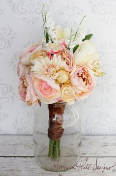 Silk Bride Bouquet Shabby Chic Rustic Wedding by braggingbags