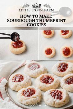 Easy Homemade Recipes, Fun Baking Recipes, Cookie Recipes, Dessert Recipes, Thumbprint Cookies Recipe, Jam Cookies, Sourdough Recipes, Sourdough Bread, Dessert From Scratch