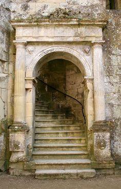 Doorway at Wardour Castle, England. steps stairs stairways