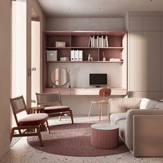 Here is the best place for you to find the greatest pink home ideas. Here we present to you house tours to each room in a pink with monochrome color in Pink Home Ideas To Give A Penchant Stylish Touch. Home Room Design, Home Office Design, Study Room Design, Monochrome Bedroom, Pink Furniture, Pastel Room, Apartment Makeover, Living Room Sofa, Living Rooms