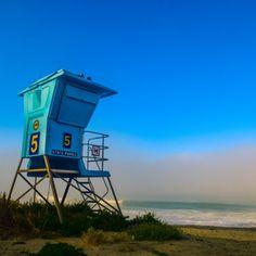 Lifeguard Tower and fog by Jon Davatz Photo